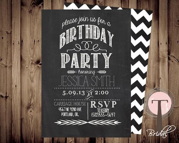Chalkboard birthday invitation birthday invitation elegant etsy image 0 filmwisefo