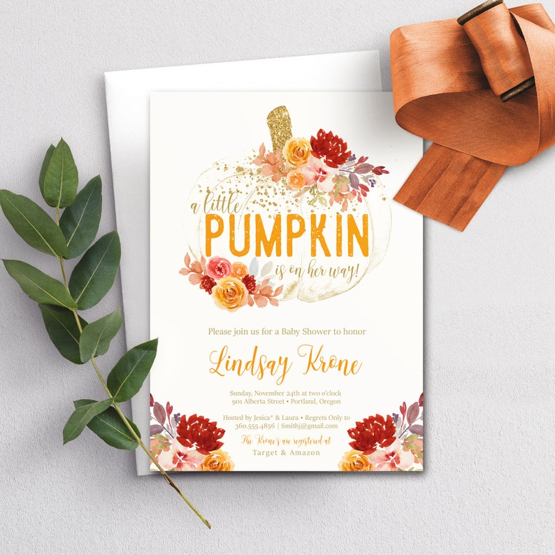 Little Pumpkin Baby Shower Invitation Girl Fall baby shower image 0