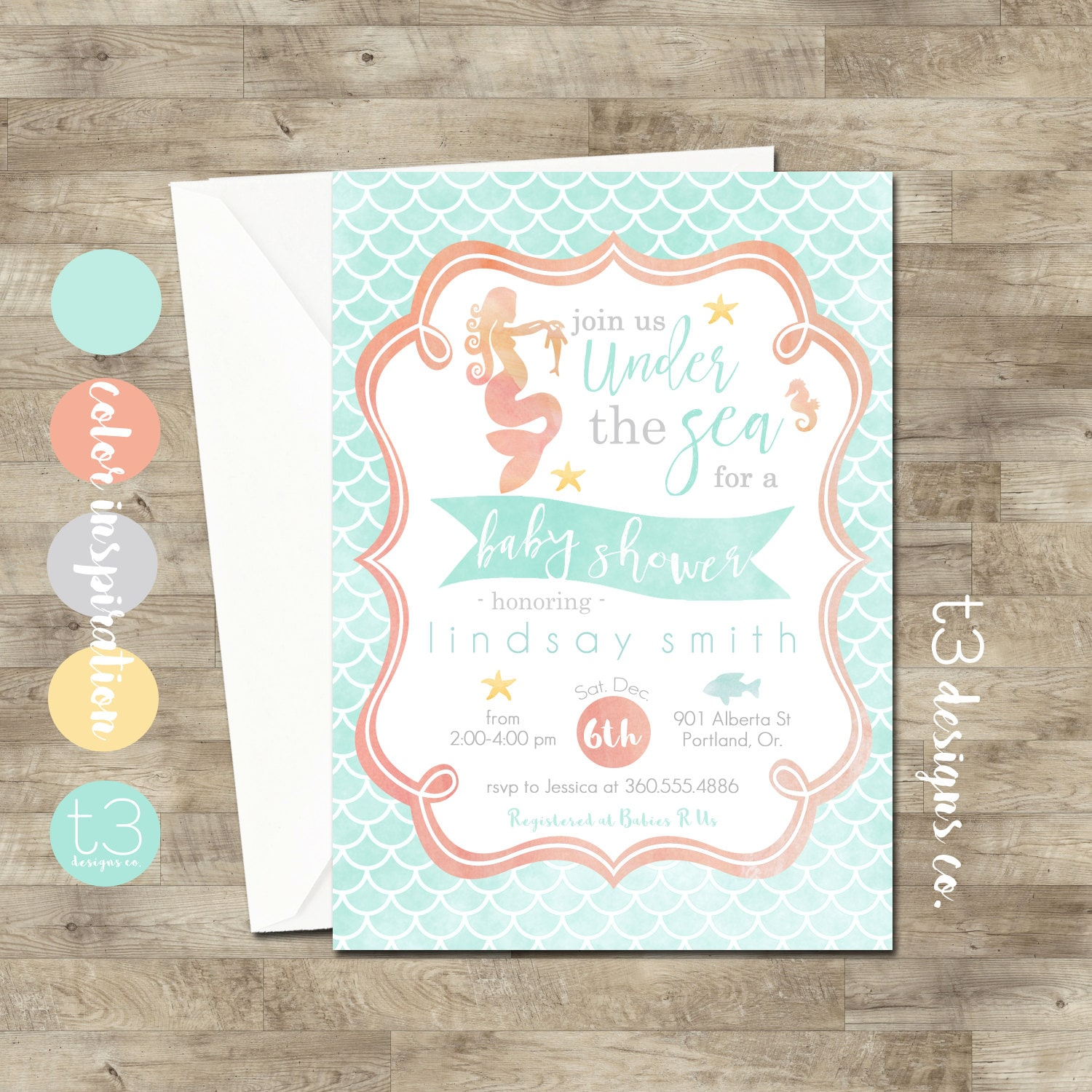 Mermaid Baby Shower Invitations Mermaid Invitation Baby Shower