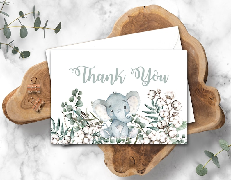 Elephant Baby Shower thank you card Gender Neutral Baby image 0