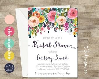 Whimsical Bridal Shower Invitation, peony bridal shower invite, bridal shower, floral bridal shower, watercolor bridal shower invitation