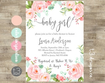 Floral Girl Baby Shower Invitation, baby girl shower invite, baby shower, whimsical baby shower, girl baby shower, watercolor baby shower