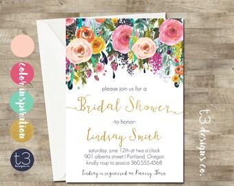 Whimsical Bridal Shower Invitation, peony bridal shower invite, bridal shower, floral bridal, watercolor bridal shower invitation, gold