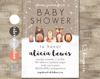 Winter Woodland Baby Shower Invitation, Forest Animals, Winter Baby Shower, Snow Baby Shower, Gender Neutral Animal Baby Shower Invite, T1