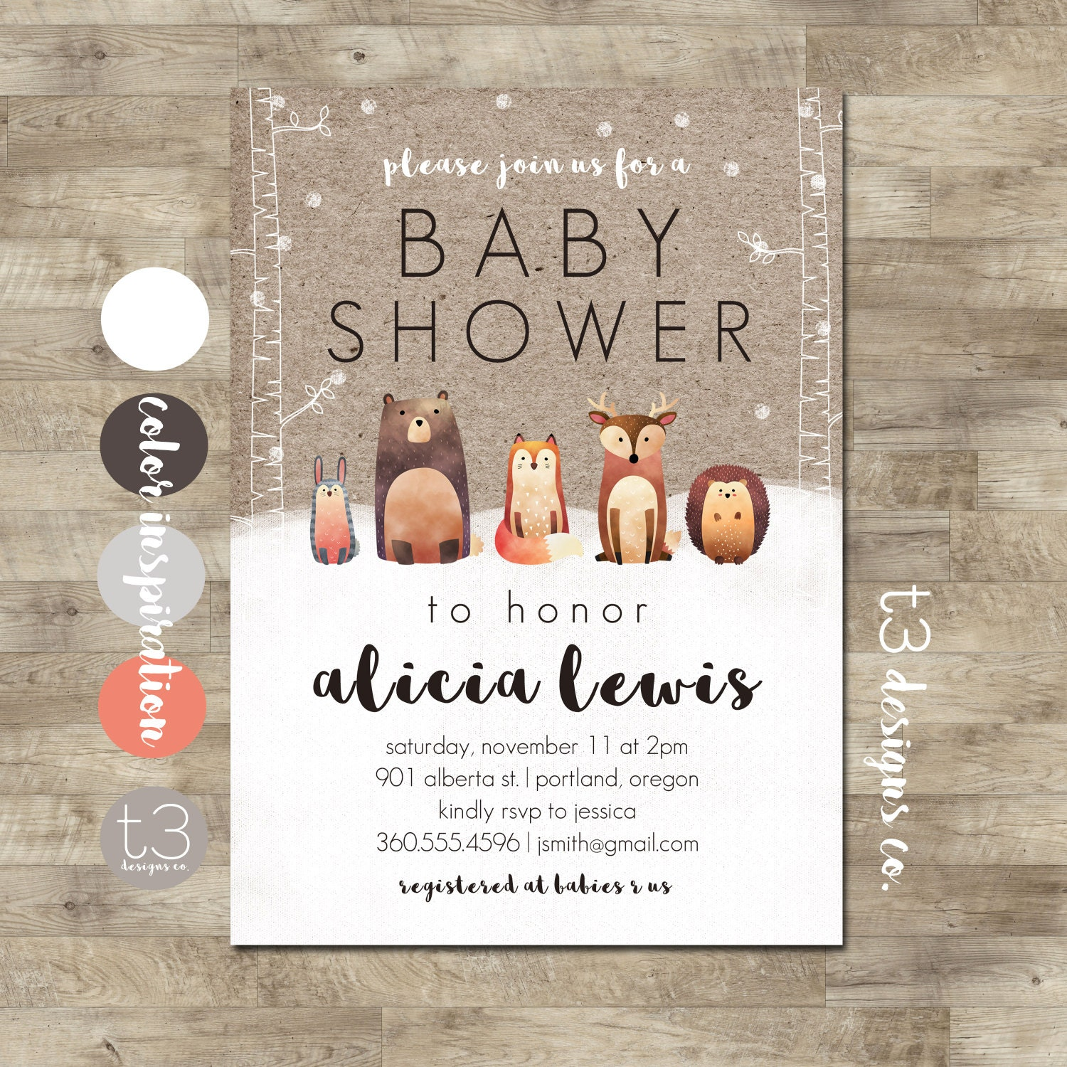 Instant Winter Woodland Baby Shower Invitation, DIY PDF, Forest ...