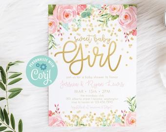 Gold Confetti Baby Shower Invitation, EDITABLE girl baby shower invitation, girl baby shower invite, blush pink gold glitter template 15101
