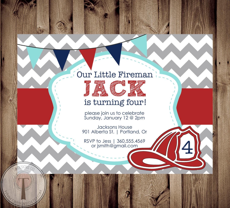 Fireman Birthday Invitation, Fire fighter birthday, fireman, firemen ...