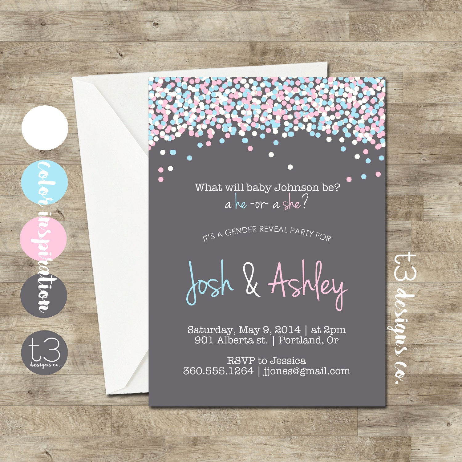 Gender Reveal Invitation Confetti Gender Reveal Party Etsy