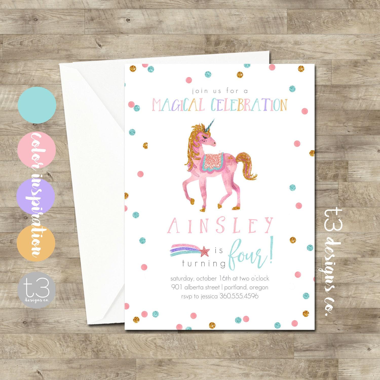 Rainbow Unicorn Birthday Invitation Girl Invite Party Pink Gold T6