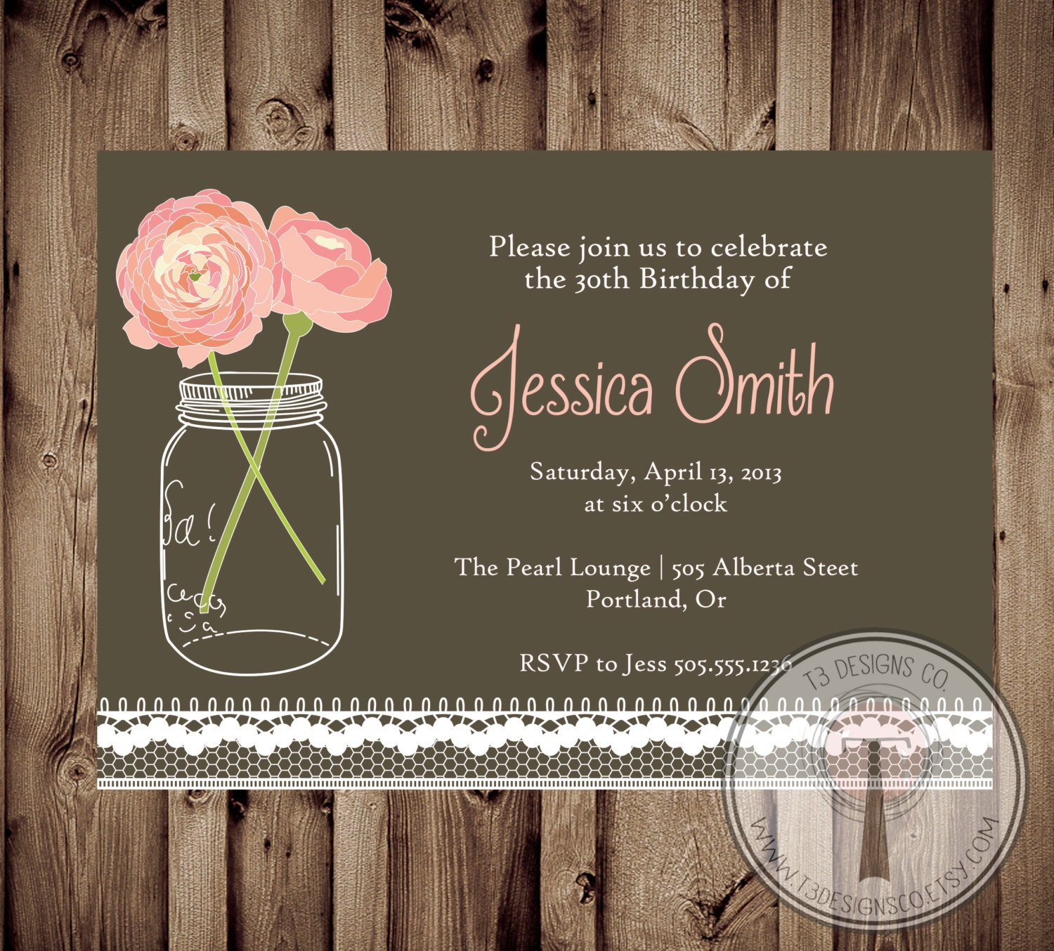 Vintage Lace Birthday Invitation Mason Jar Invitation Elegant Adult