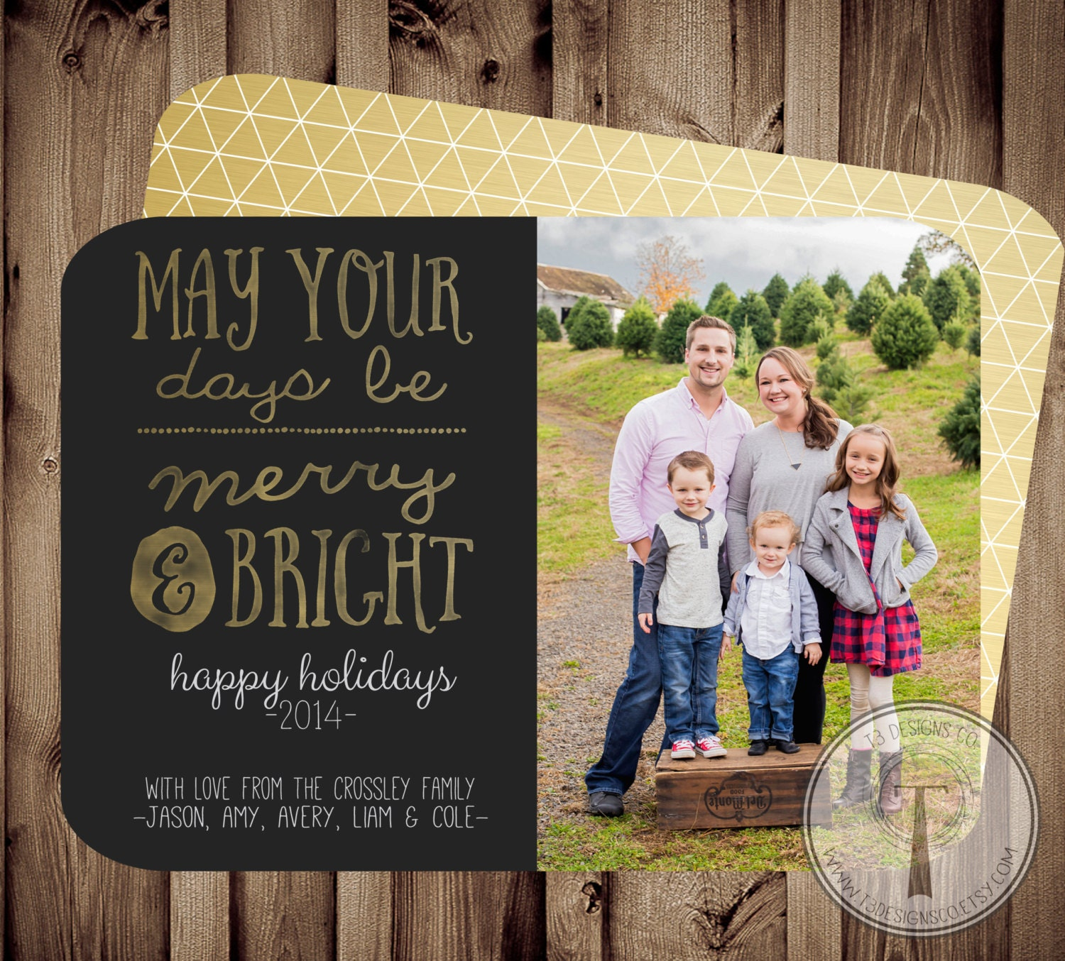 Merry and Bright Photo Christmas Card holiday card | Etsy