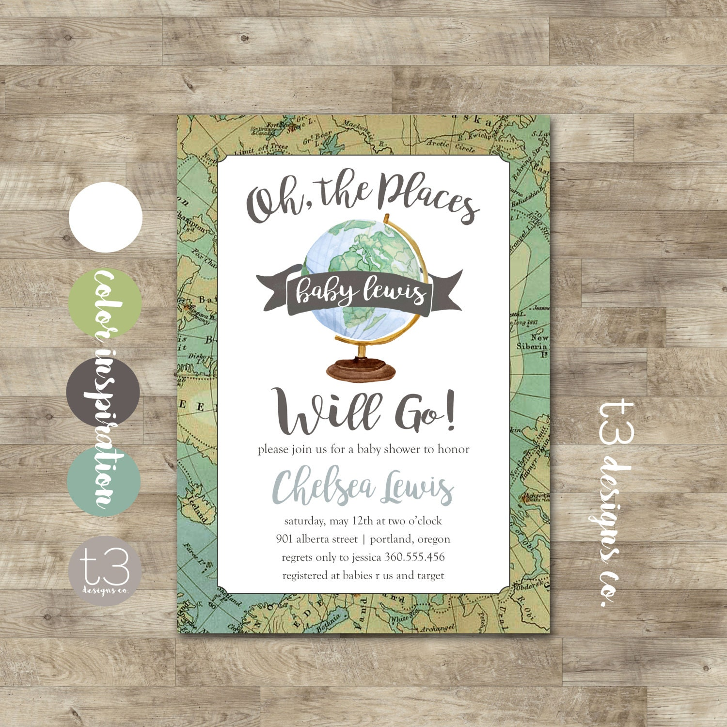 World Baby Shower Invitation, Travel Baby Shower, Oh the places you ...