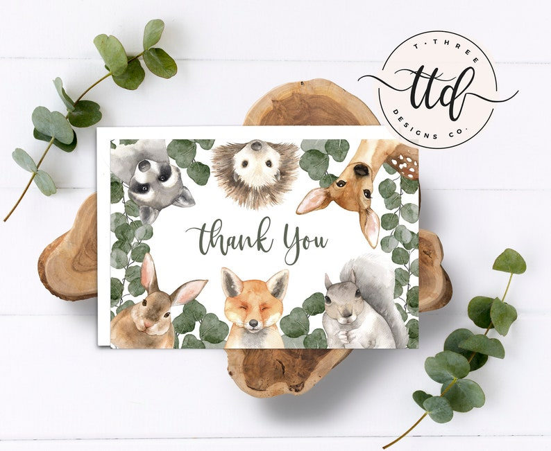 Woodland Animals Thank You Card Instant Thank You Card image 0