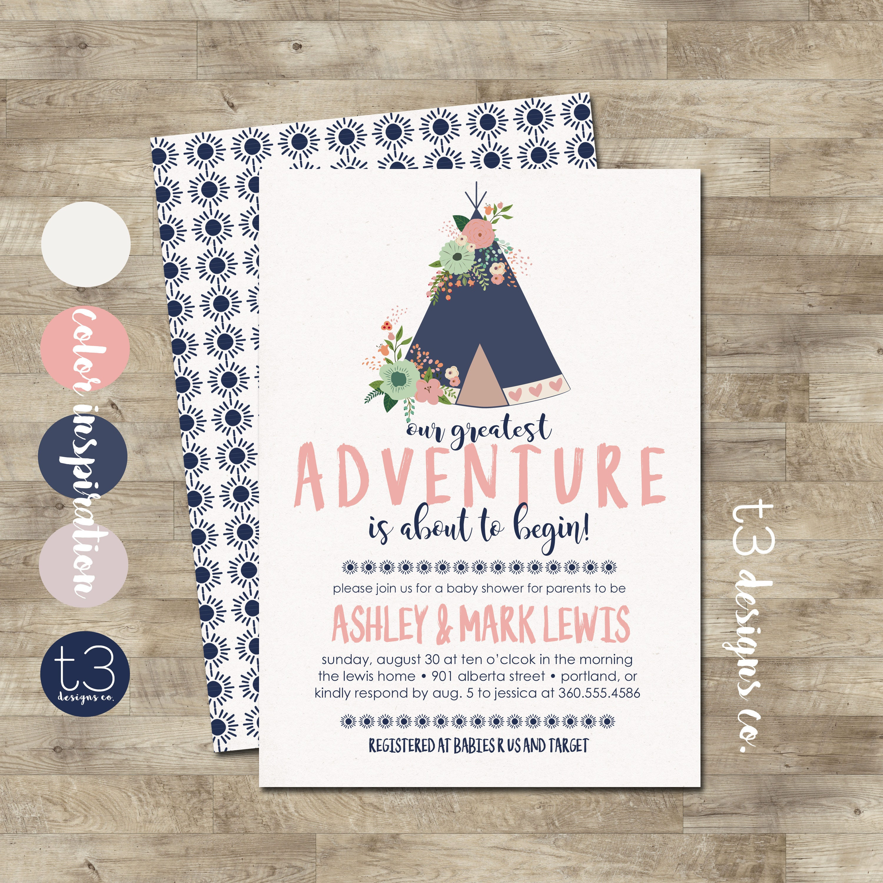 Girl teepee baby shower invitation our greatest adventure baby girl teepee baby shower invitation our greatest adventure baby shower girl baby shower invitation floral tee pee invite filmwisefo