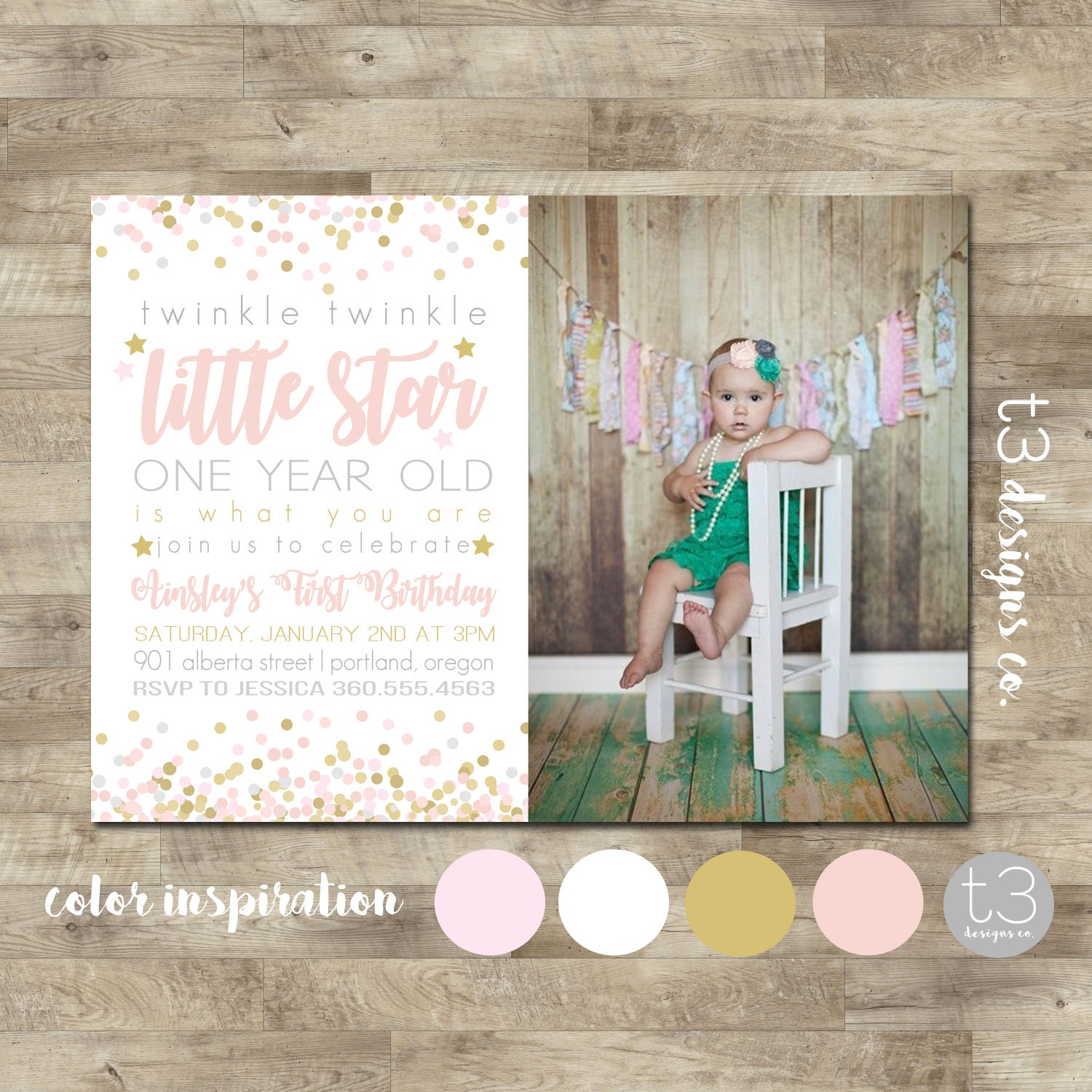 Twinkle Twinkle Little Star First Birthday Invitation, Pink and Gold ...