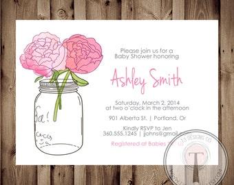 BABY GIRL Baby Shower Invitation, baby shower invite, mason jar baby shower, mason jar, flowers, baby,pink, peonies, pink peonies