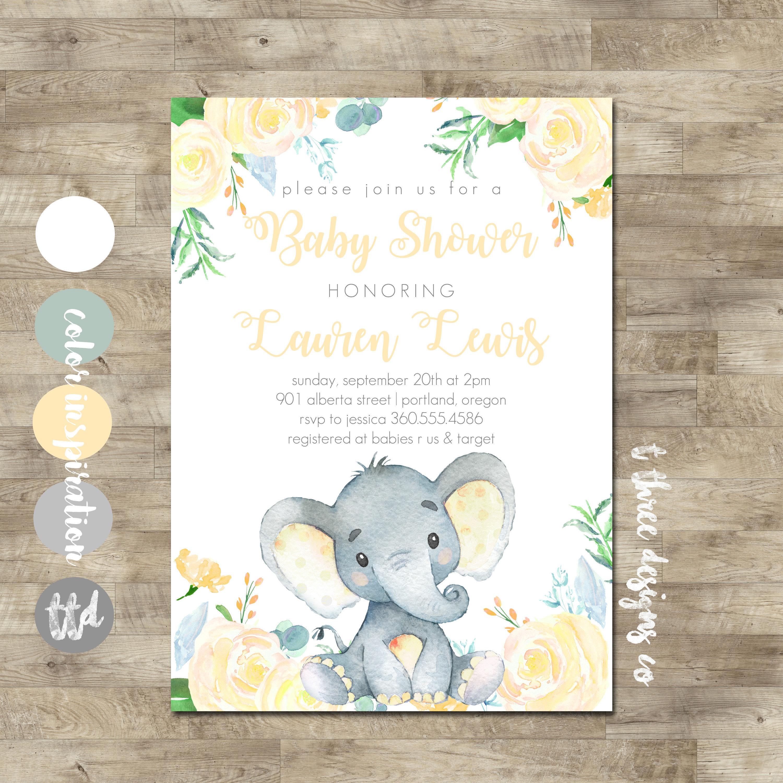 Elephant Baby Shower Invitation, Gender Neutral Baby