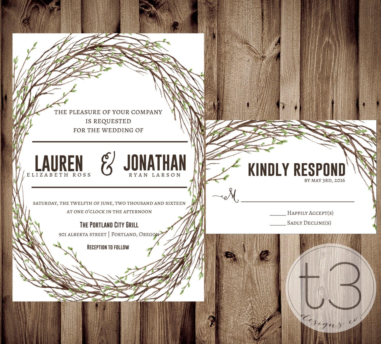 Woodland Wedding Invitation and Response card, Wedding invitation ...