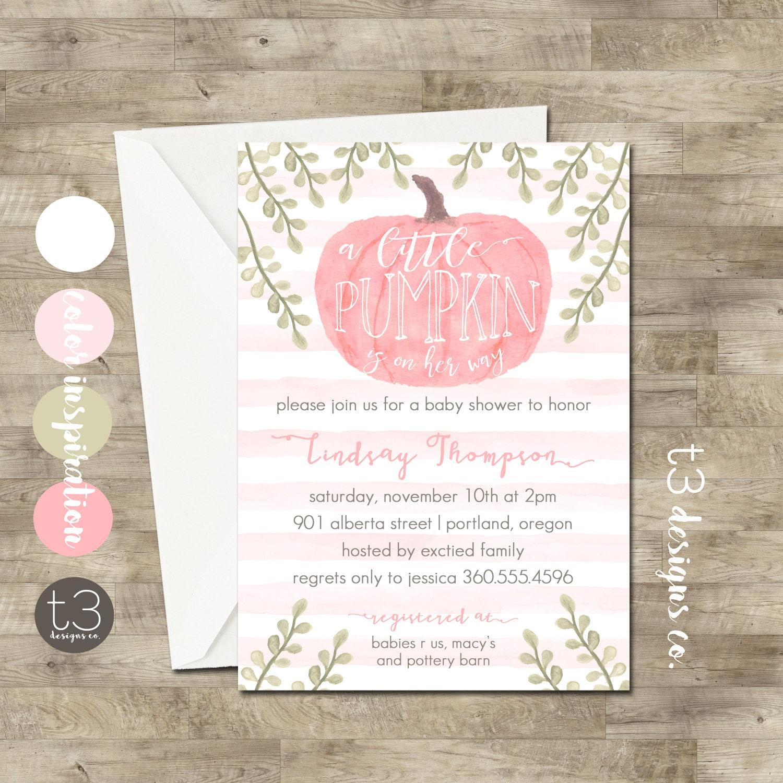 Girl Little Pumpkin Baby Shower Invitation, girl baby shower invite ...