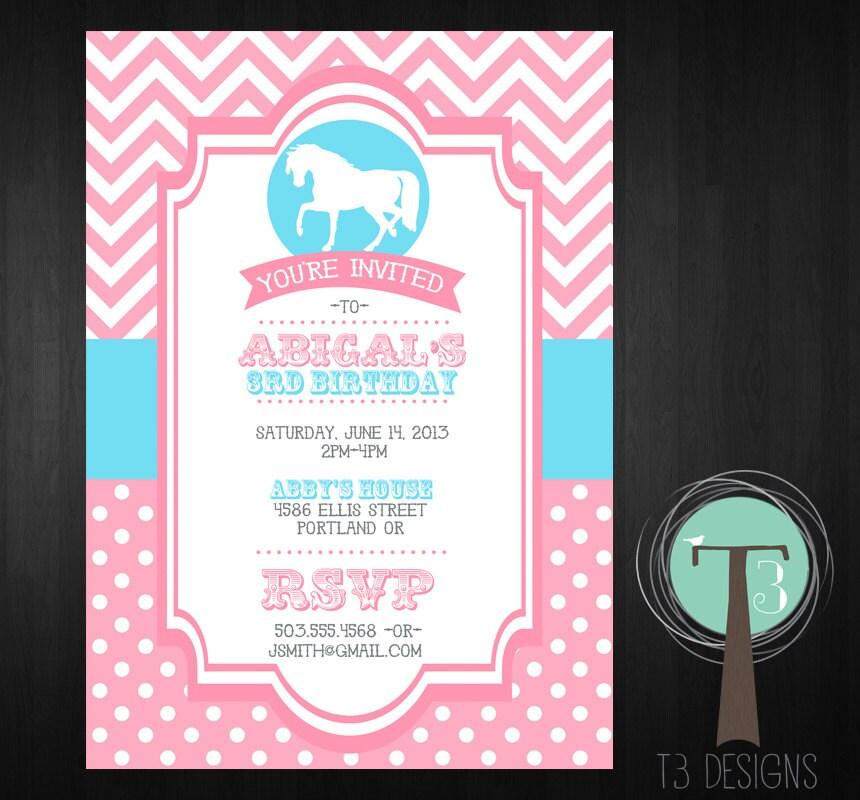 Horse birthday invitation pony birthday invitation girls birthday horse birthday invitation pony birthday invitation girls birthday invite birthday invitation horse pony chevron horses 1075 filmwisefo
