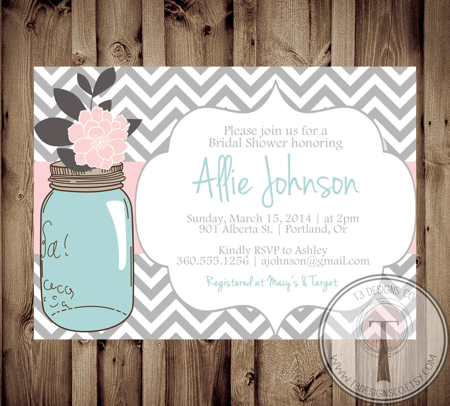 mason jar invitation bridal shower invitation wedding shower mason jars chalkboard invite invitation