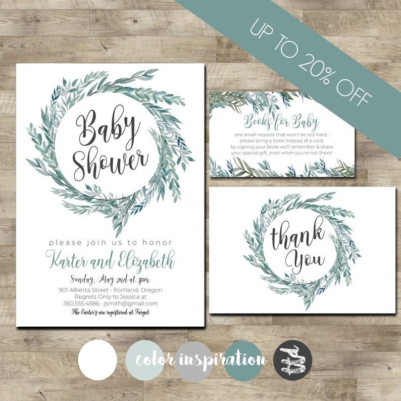 Baby boy Shower Invite Gender Neutral Baby Shower Invite Leafy Wreath Baby Shower Invitation Greenery Baby Shower Package
