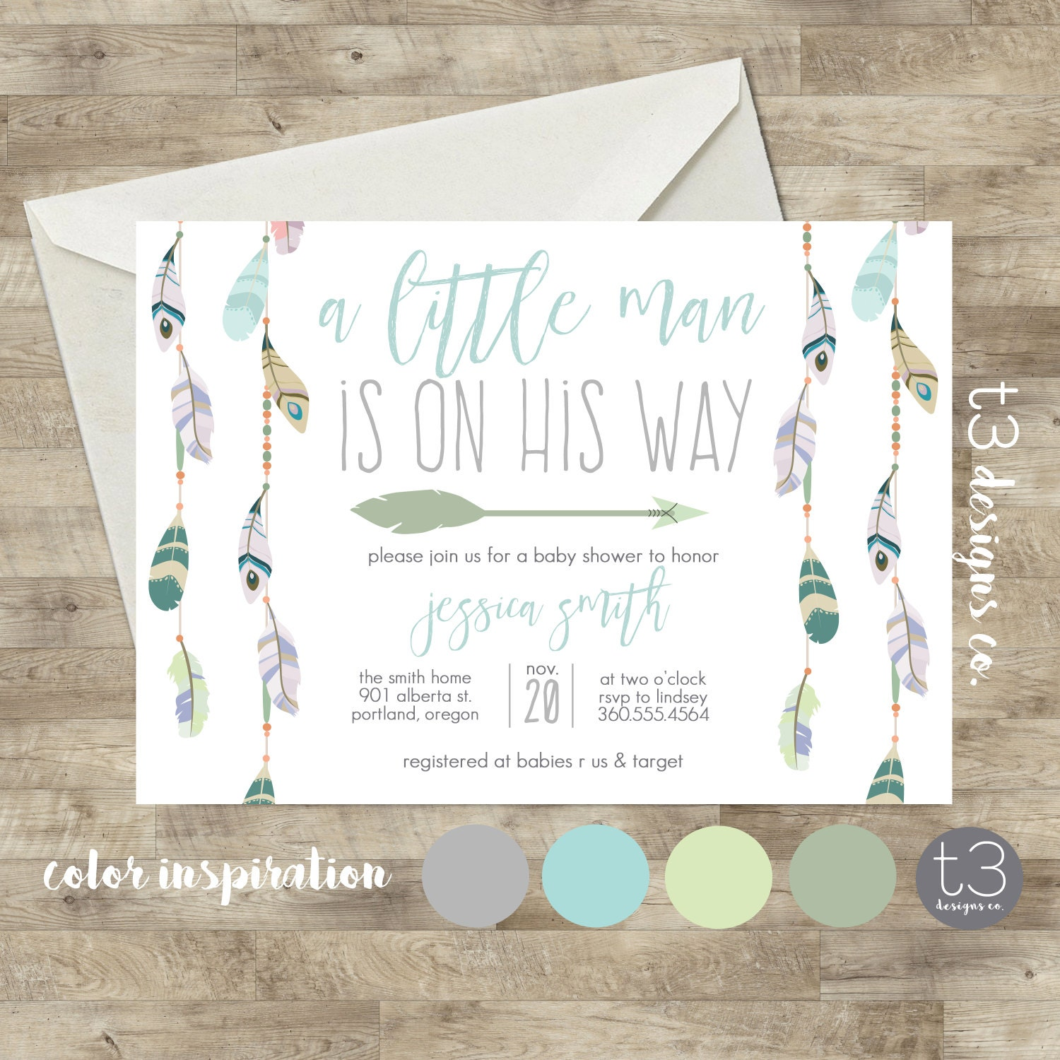 baby shower invitation boho baby shower invite native baby shower