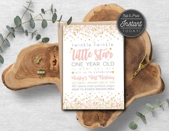 Digital Download Twinkle Twinkle Little Star First Birthday Invitation, girl first birthday invitation, Pink and Gold Invitation, #15052