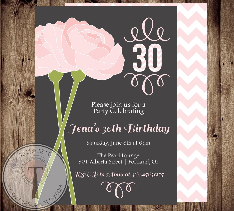 Peonies Birthday Invitation Chevron Elegant Adult