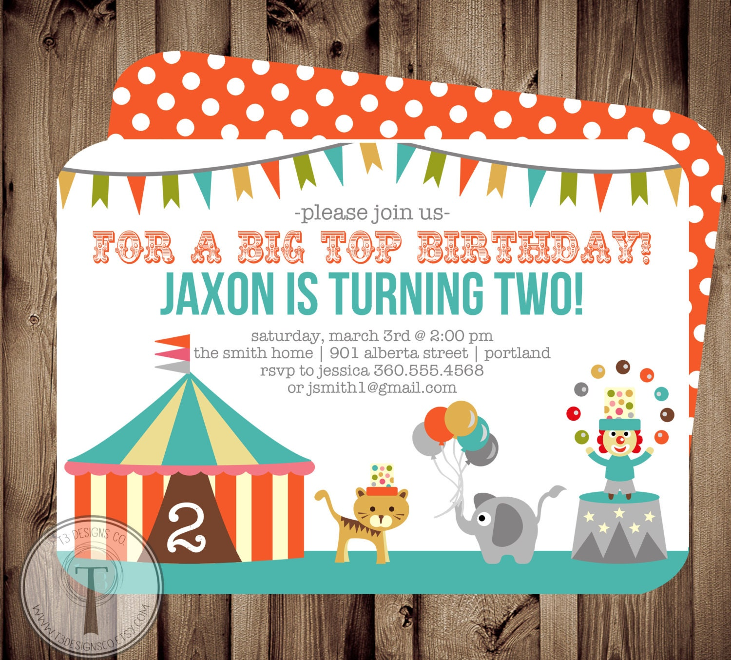 Big Top Circus Birthday Invitation, birthday invite,boy and girl ...