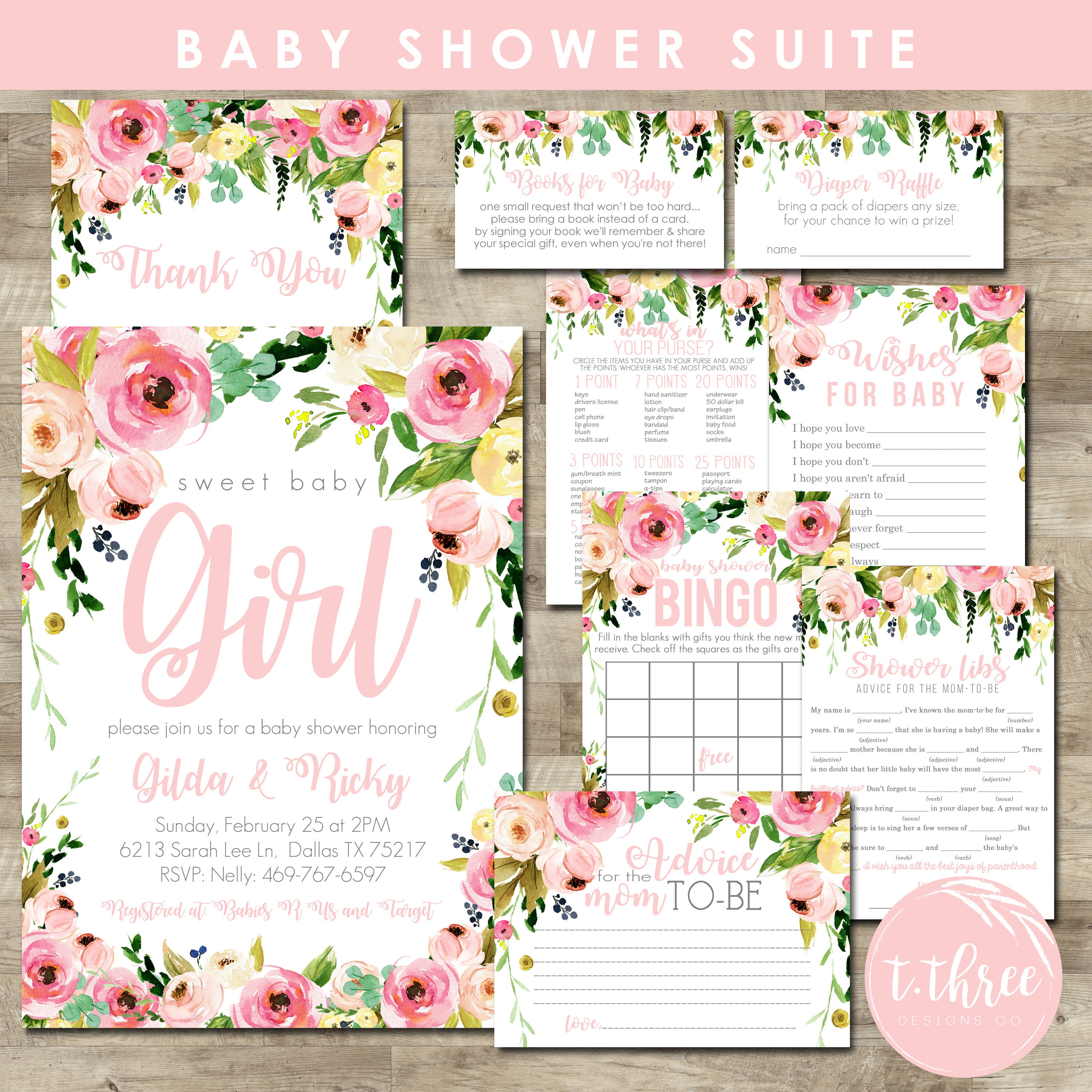 Watercolor Flower Baby Shower Package, girl baby shower invitation ...