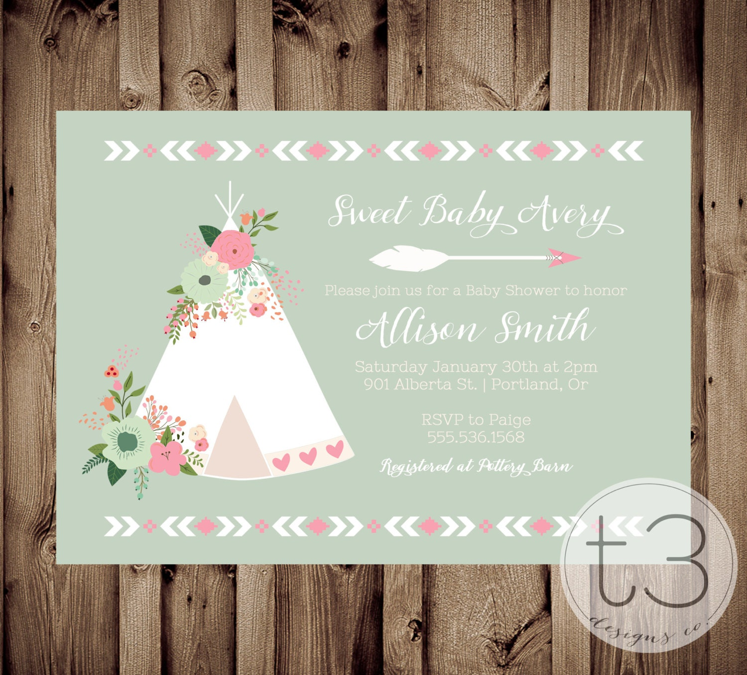 Floral Teepee Baby Shower Invitation, Teepee Baby Shower Invite, Aztec
