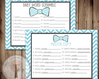 Baby Shower Word Scramble Game, INSTANT DOWNLOAD, baby scramble, word scramble, baby shower game, bow tie baby shower