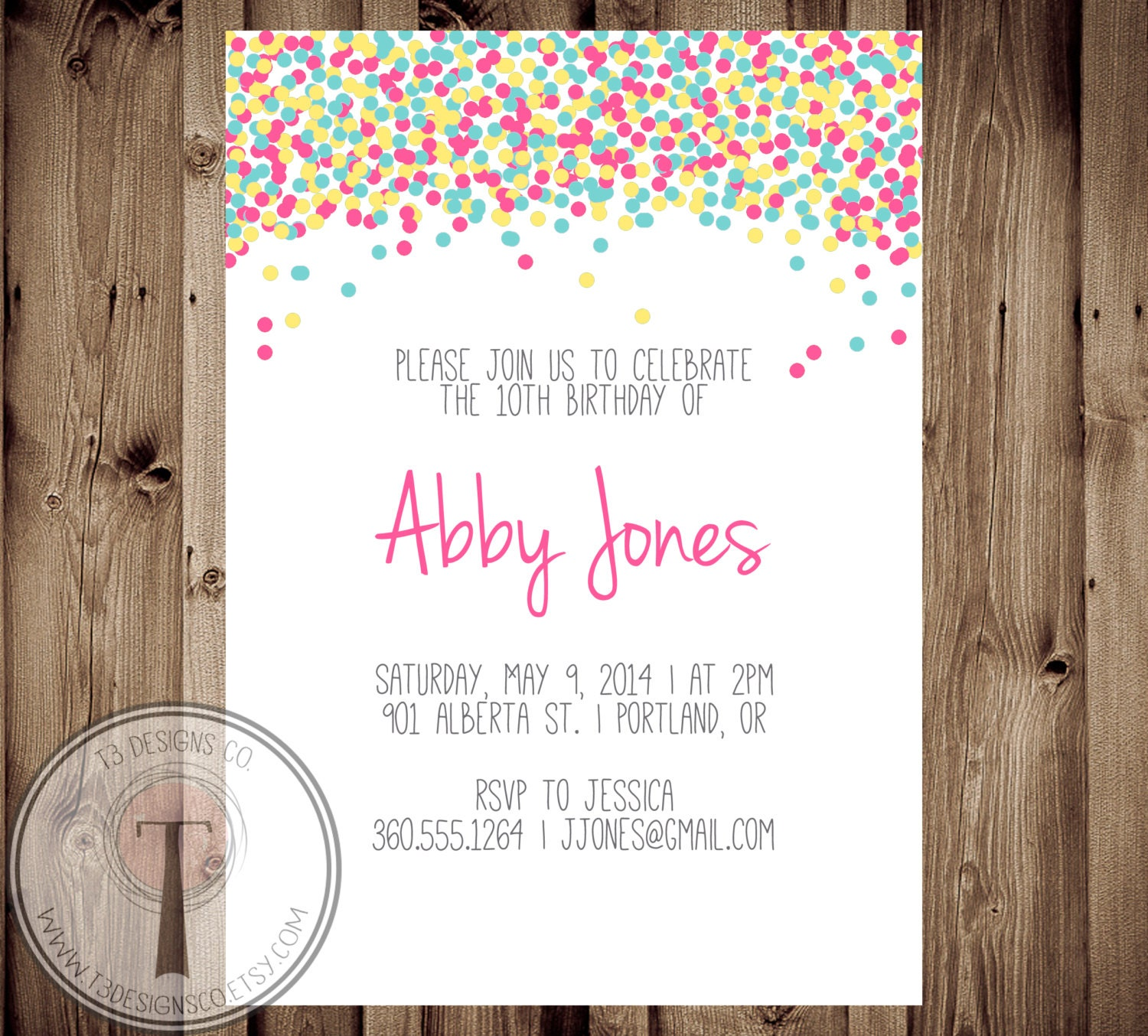 Confetti birthday invitation bright birthday invite girls birthday confetti birthday invitation bright birthday invite girls birthday tween birthday 30th birthday 40th 21st birthday party invitation filmwisefo