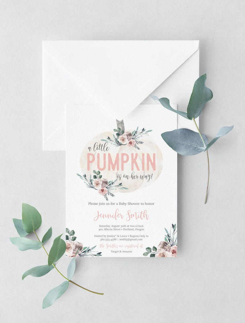 Little Pumpkin Baby Shower Invitation Girl Fall baby shower image 0