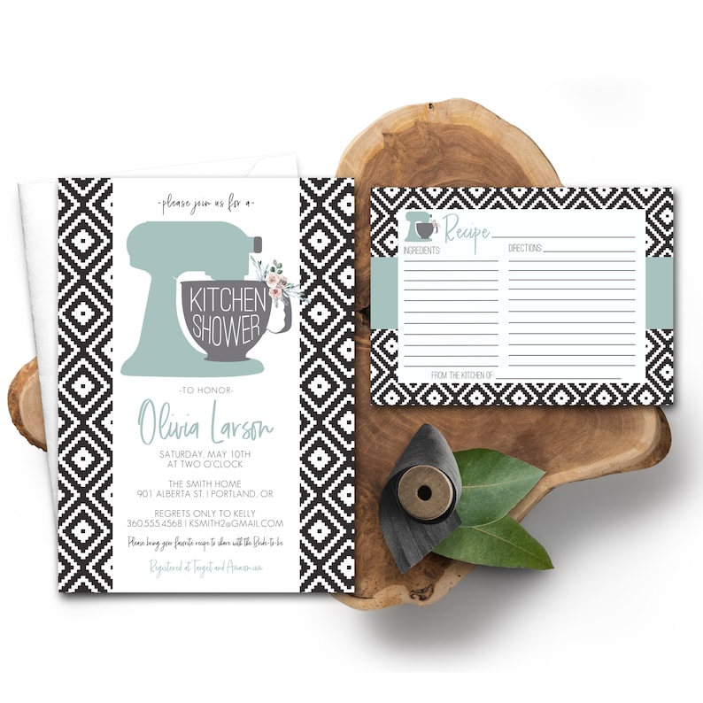 Kitchen Shower Invitation and Recipe Card Floral Boho Kitchen image 0