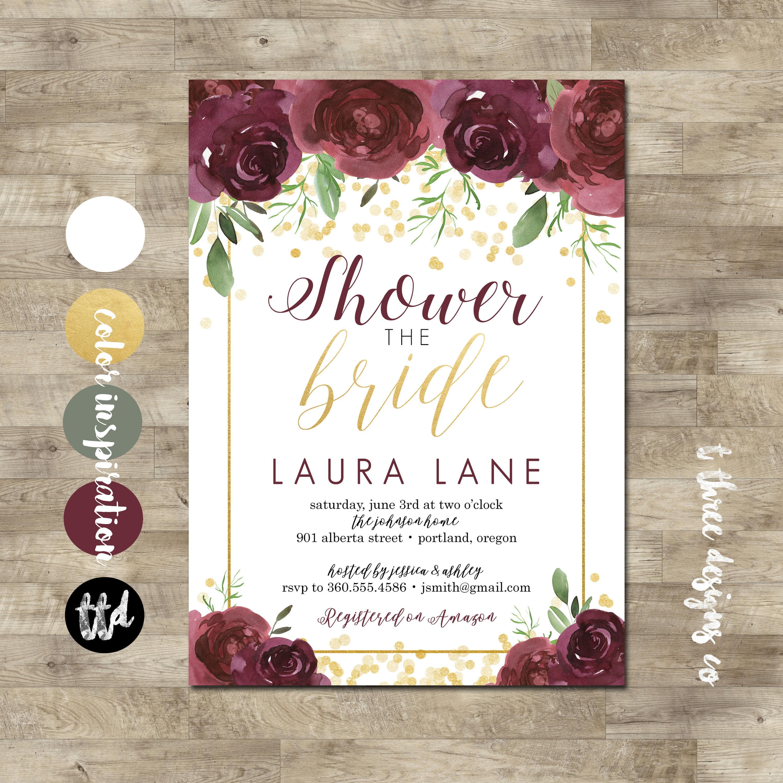 boho gold wine bridal shower invitation bridal shower invitation vintage boho watercolor floral bridal shower wine gold romantic boho