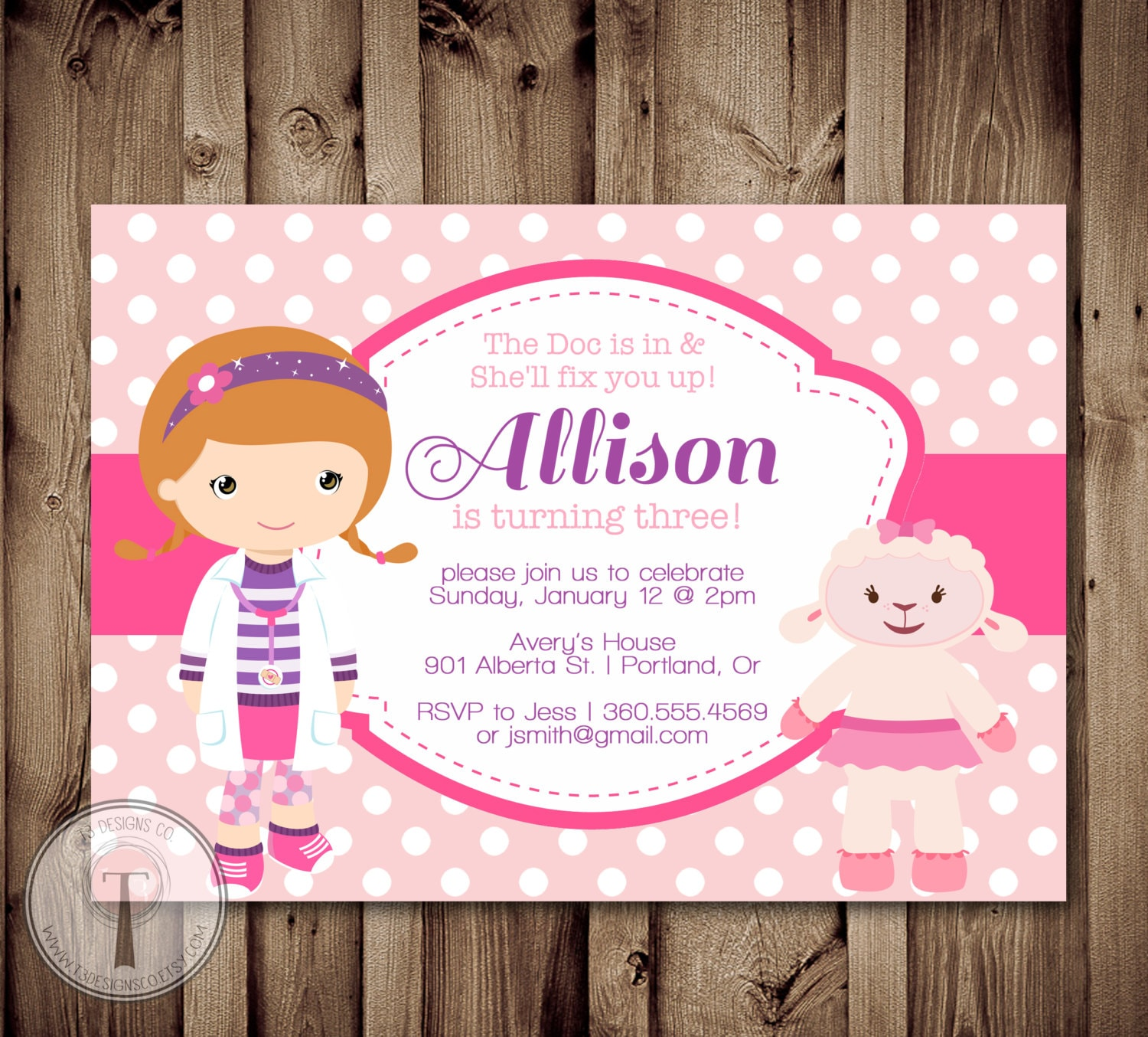 girl doctor birthday invitation little doctor birhday girls