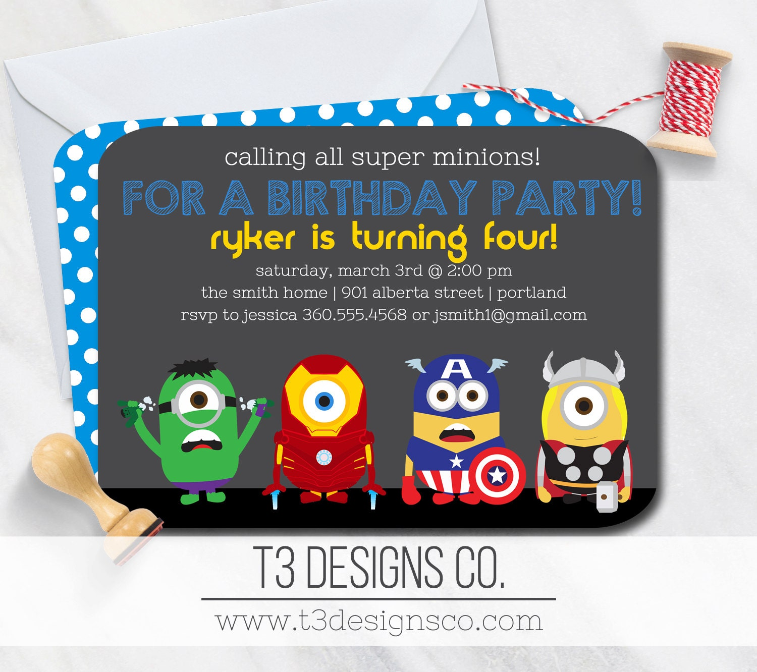 6 Birthday Card Templates: SUPERHERO Birthday Invitation, Super Minions Inspired