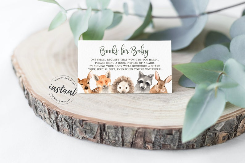 Woodland Book Request card Woodland Baby Shower Books for image 0