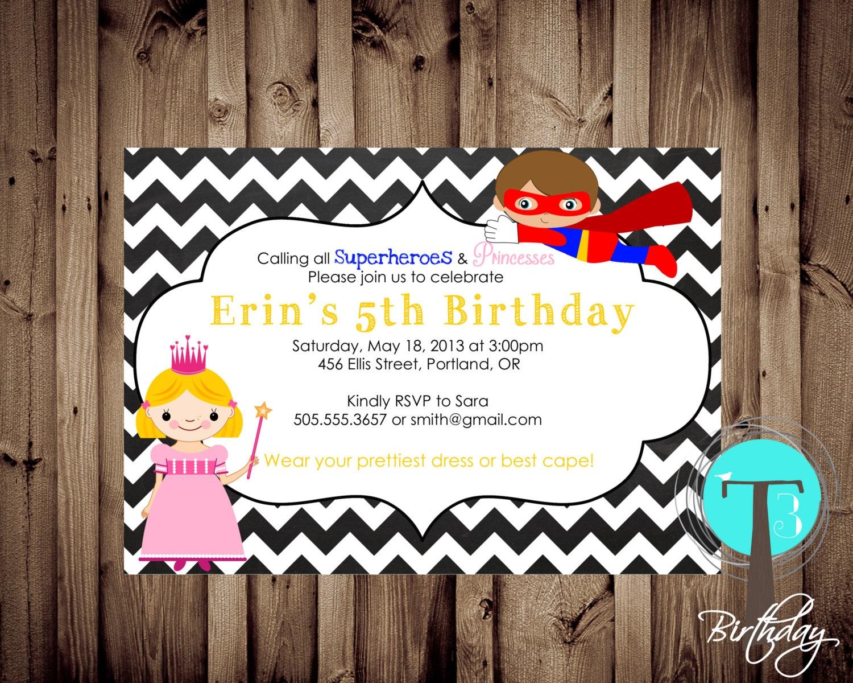SUPERHERO and PRINCESS Birthday Invitation birthday invite | Etsy