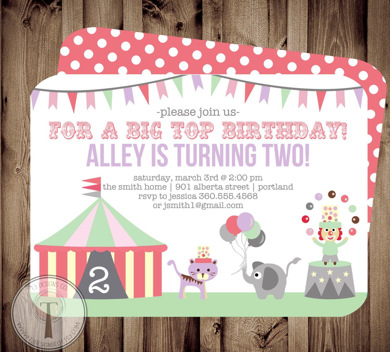 Big Top Circus Birthday Invitation, birthday invite,boy and girl ...