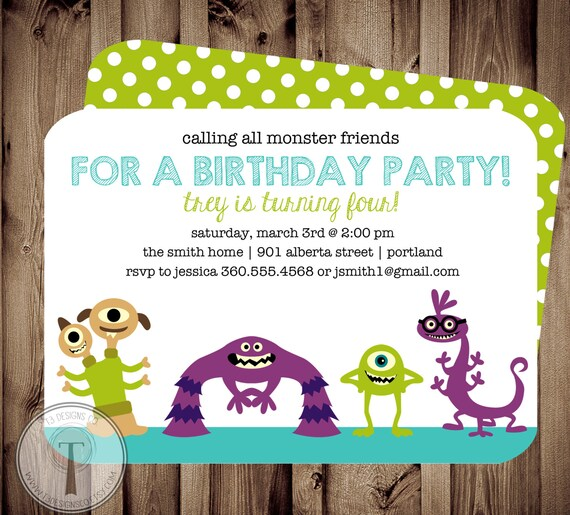 Monster Friends Birthday Invitation Inviteboy And