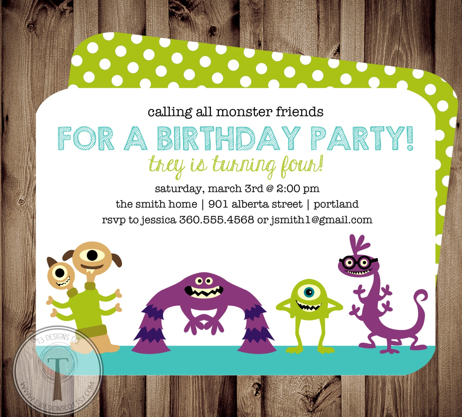Monster Friends Birthday Invitation, birthday invite,boy and girl ...