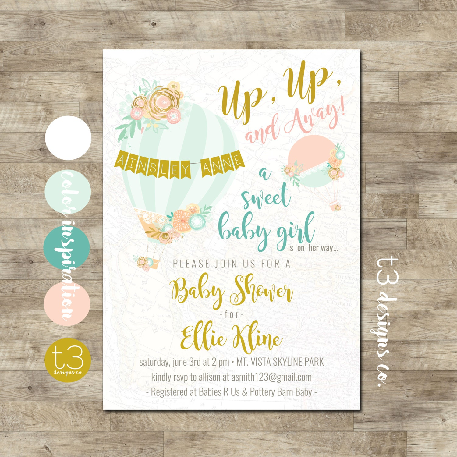 Hot Air balloon baby shower invitation, Up Up and Away baby shower ...