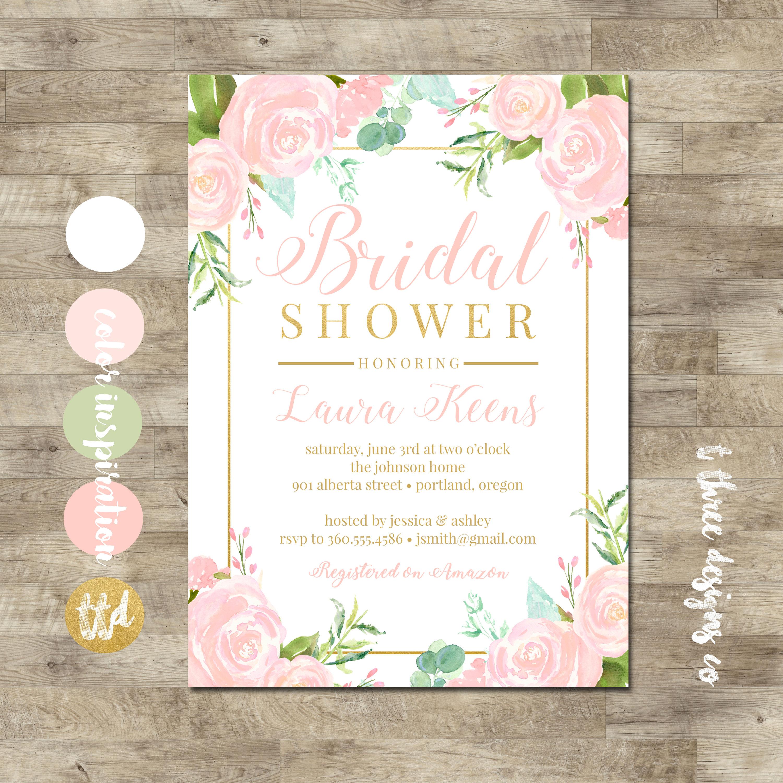 gold blush bridal shower invitation bridal shower invitation watercolor floral bridal shower blush pink gold