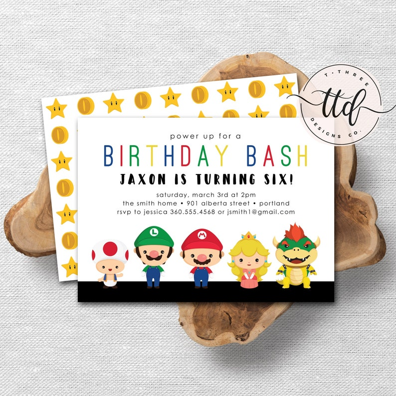 Super Gamer Birthday Invitation super brothers Mario image 0