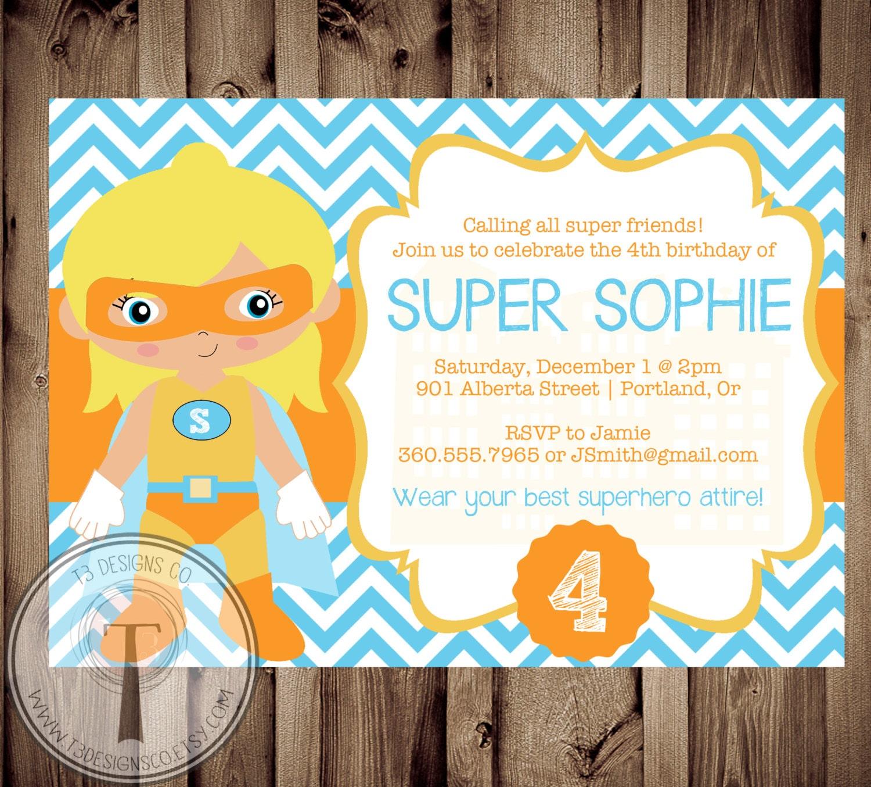 superhero girl birthday invitation birthday invite super girl