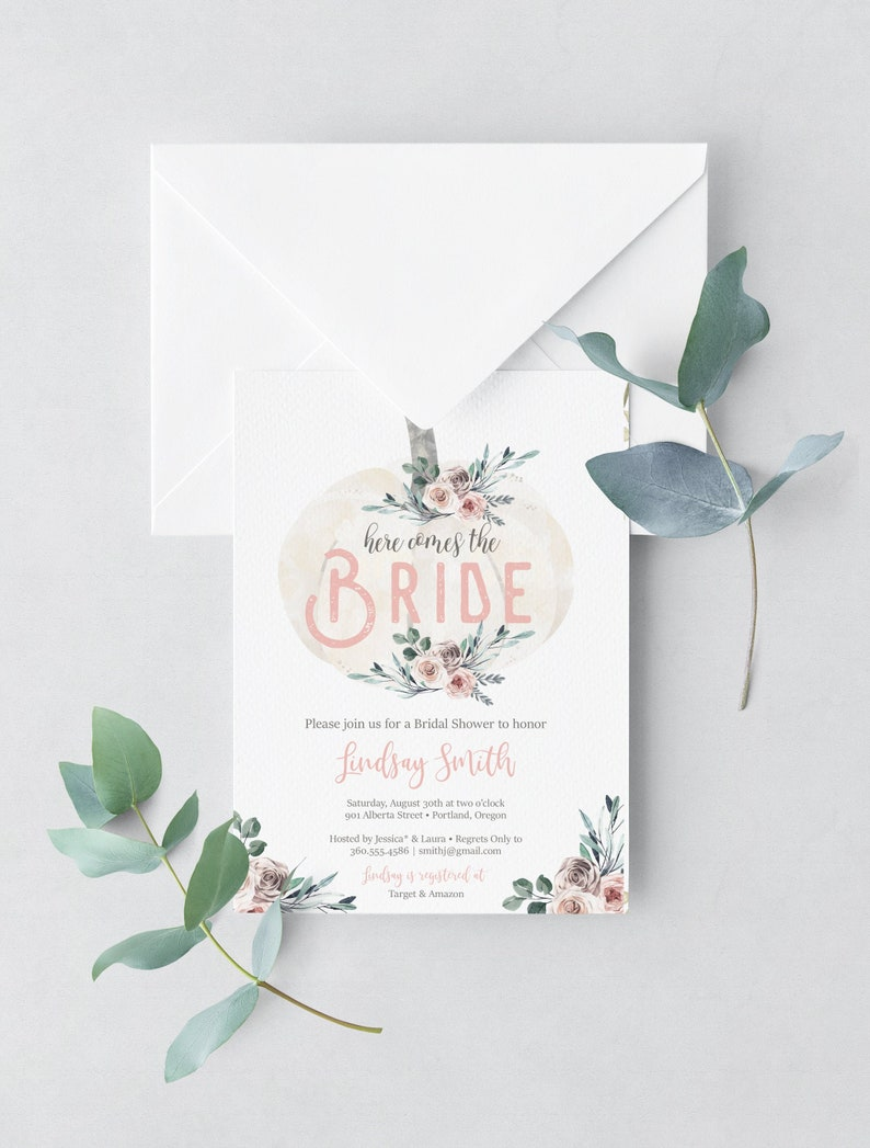 Fall Bridal Shower Invitation Pumpkin Bridal Shower Invite image 0
