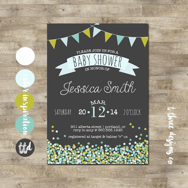 a2a846e8dd1 Confetti & Flag Bunrting Baby Shower Invitation, baby shower invite,  confetti, sprinkles, boy baby shower, girl baby shower, bunting, chalk